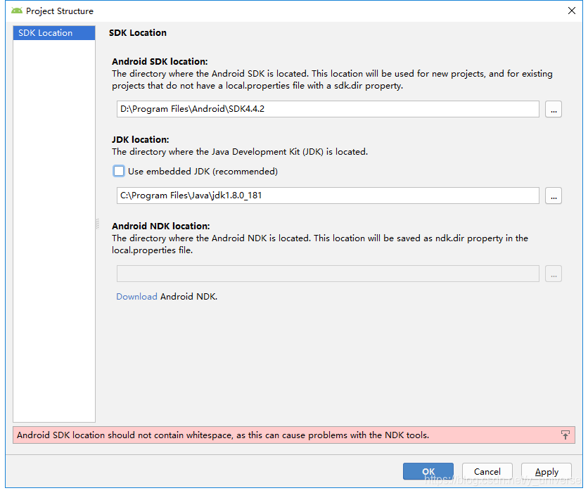 android sdk location should not contain whitespace, as this can cause problems with the ndk tools.
